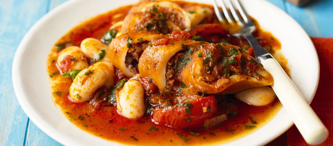 Black's Risotto Stuffed Squid with a Brandy and Tomato Cream Sauce
